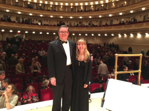 Kevin with wife, harpist Diane Michaels, onstage at Carnegie Hall where both played in 2015 Peace Concert